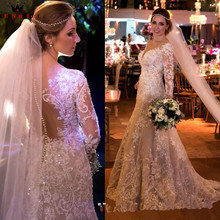 291021d10de Custom Made Mermaid Long Sleeve Lace Beading Sequins Pearls Sexy Wedding  Dresses Vintage Luxury Bridal Gowns