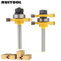 2pcs Set 1 4 Woodworking Milling Cutter T Style Tongue Groove Router Bit Wood Cutter For