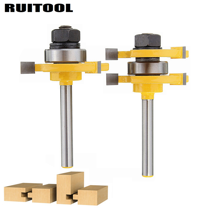 2pcs/set 1/4'' Woodworking Milling Cutter T-style Tongue Groove Router Bit Wood Cutter For Wood Flooring Wainscot Panel Tools 1 2 shank router bit milling cutters for doors woodworking tool trimming flooring wood tools
