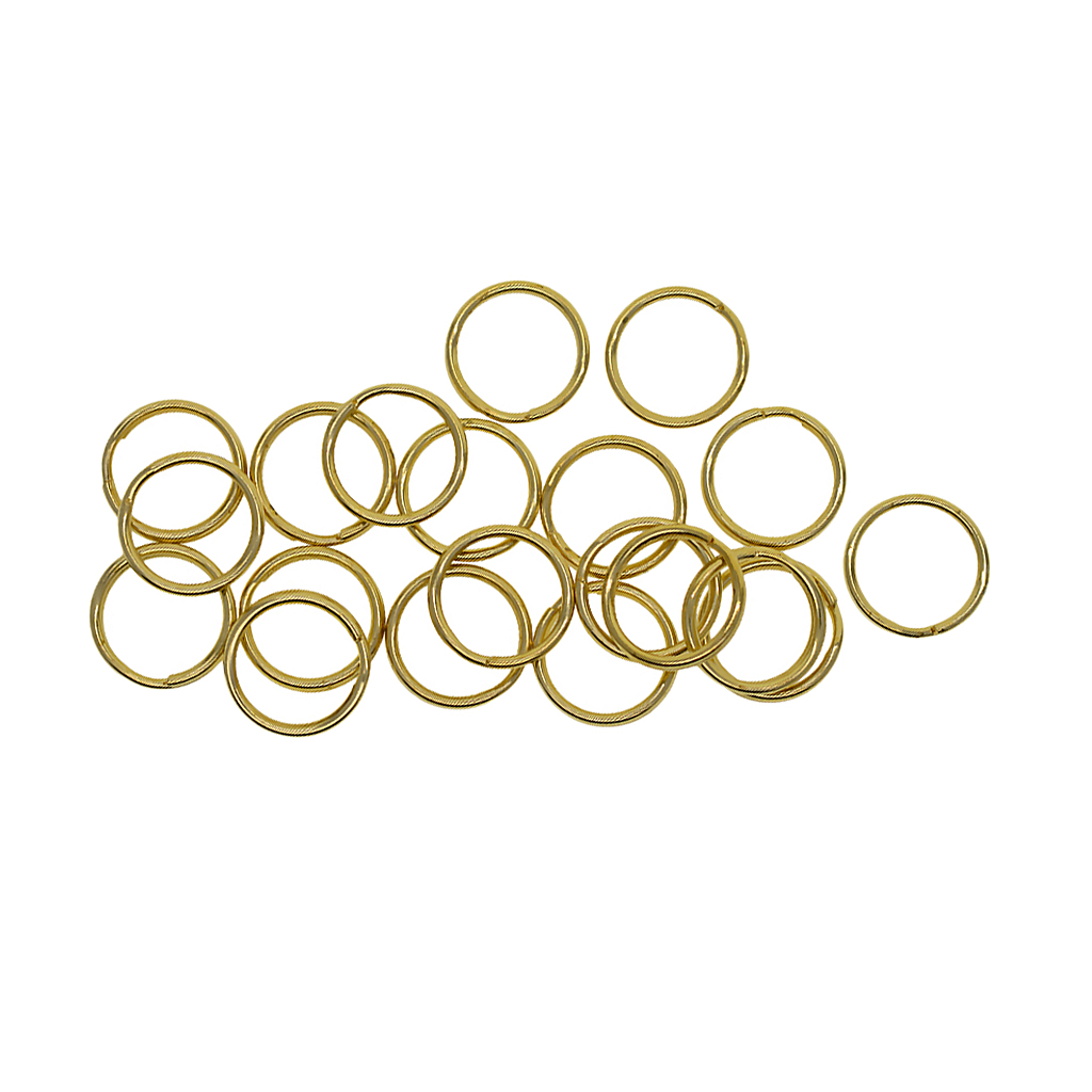 20 Pcs Round Solid Brass Split Key Ring Chain Hook Hardware Keychains 15mm