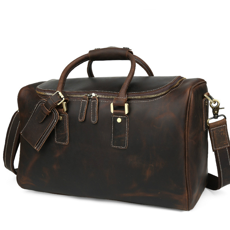 d2018fc691 Tiding Italian Leather Travel Duffle Bags Women Luggage Handbag Designer  Weekender Bag Overnight Bags Brown Travel Tote Bags Hot-in Travel Bags from  Luggage ...