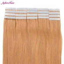 Aphro лента для волос в волос 100% человеческих волос #27 Цвет 50 г 20 шт.-Реми бразильские лента для волос прямо 20 дюймов Уток Кожи
