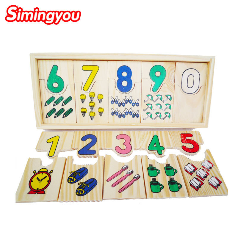 Simingyou1Set Wooden Number Counting Puzzle Toy Baby Educational Math Learning Numbers Matching Toys B40-A-137 Drop Shipping