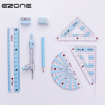 цена на EZONE Drawing Compasses Candy Color Drafting Tools Math Compasses Set With Pencil/Ruler/Eraser/Sharpener School Office Supply