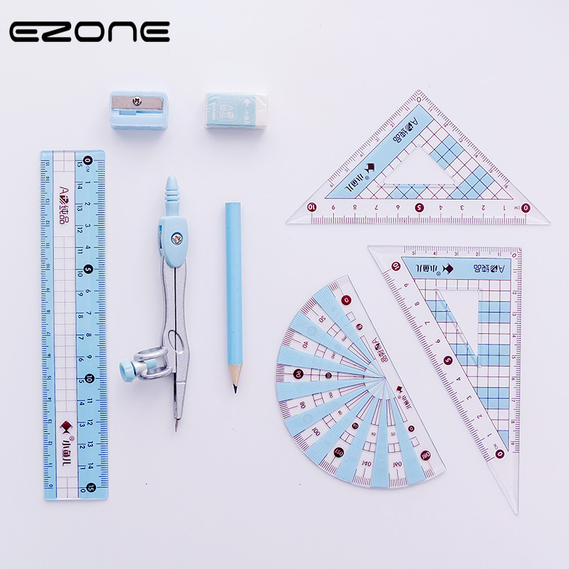EZONE Students Ruler Sets Candy Color Drafting Tools Math Compasses Set With Pencil/Ruler/Eraser/Sharpener School Office Supply