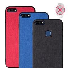 Case for Huawei Y9 2018 Enjoy 8 Plus back cover silicone edge fabric case coque Capa Y 9 FLA-AL00