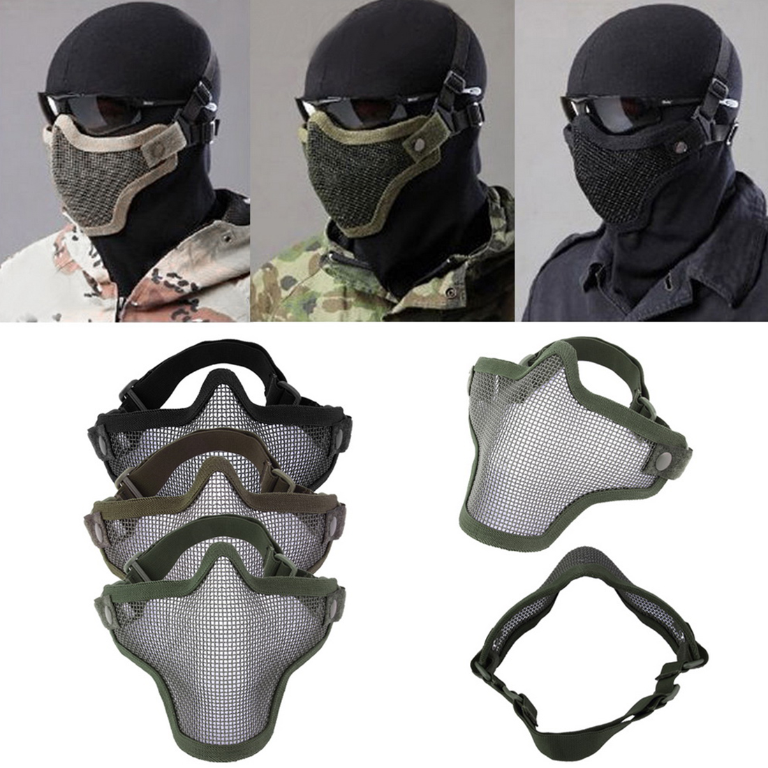 Brand New Half Lower Face Metal Steel Net Mesh Hunting Tactical Protective Airsoft Mask For Military Paintball Hunting Airsoft