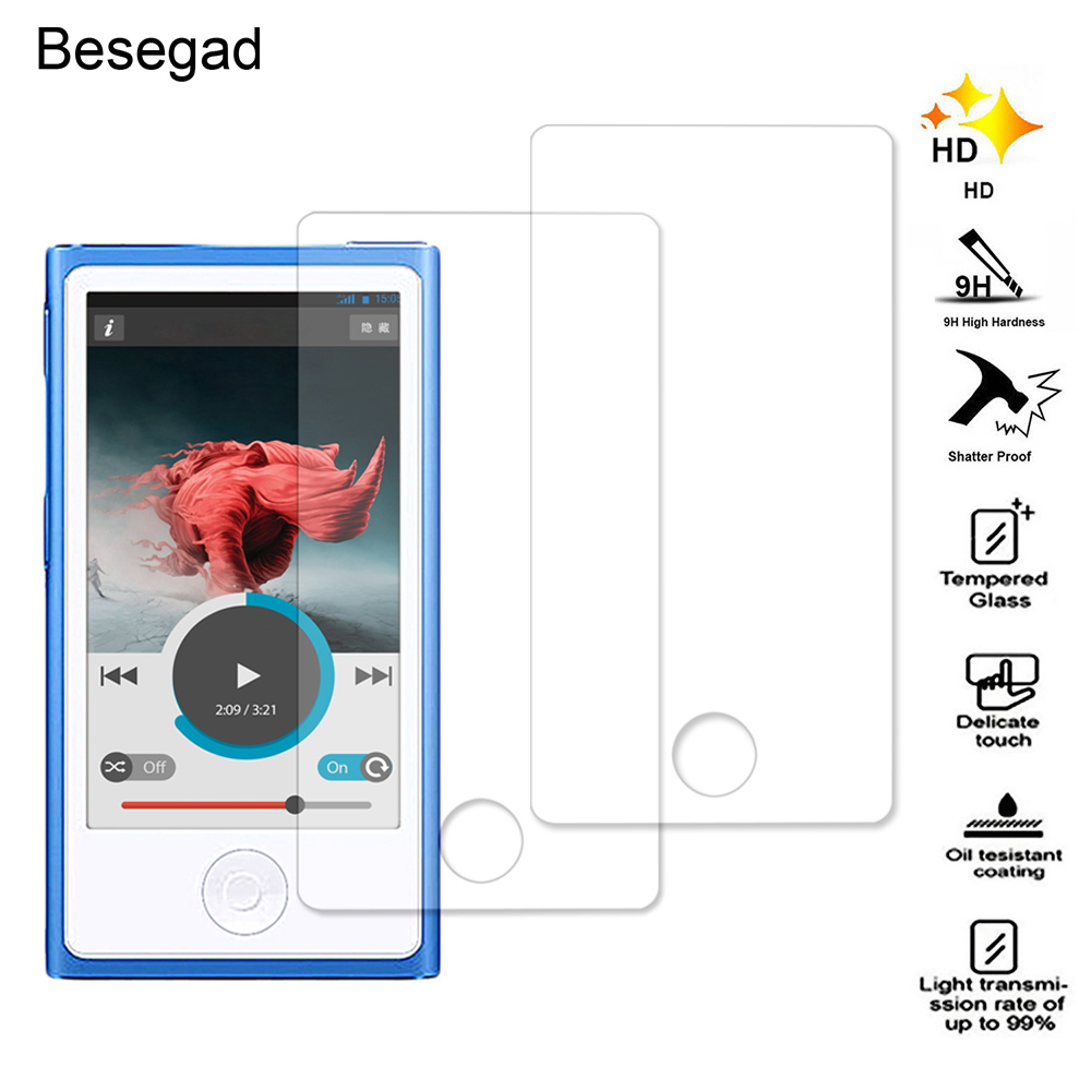Besegad 2PCS Ultra Thin 2.5D Anti-Scratch High Definition Tempered Glass Screen Protector Film for Apple iPod Nano 7 8 Gadgets