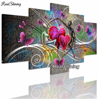 REALSHINING Lover Heart 5d Diamond Painting Cross Stitch Needlework Full Square Mosaic Diy Diamond Embroidery Handmade