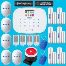 Kerui Pantalla Táctil LCD GSM SMS Sistema de Alarma de Seguridad Doméstica Inalámbrica Soporte Android IOS APP zonas independientes de Control arm/desarmar