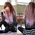 100% Фото полный парик шнурка ОК Женщин Дамы Кукуруза Вьющиеся Длинные Полный Парики Волос Коричневый + Розовый Партии Cosplay