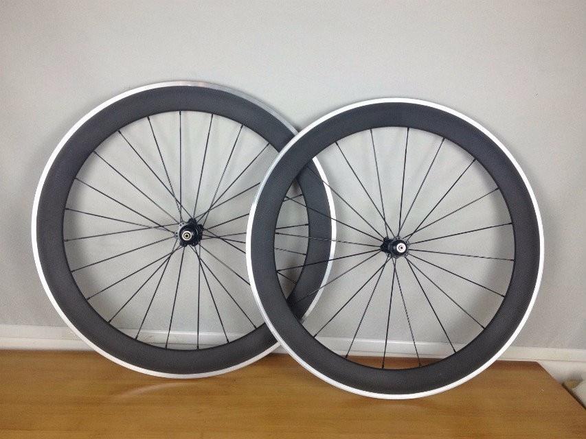60mm alloy wheels clincher/tubular roue T800 carbon wheelset carbon road bike wheel V brake carbon wheels(China)