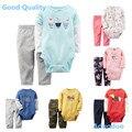 2016 recém algodão do bebê meninas e meninos o pescoço da longo-luva de duas peças calças bodysuits conjuntos clothing causal desgaste do bebê de pano