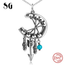 SG 925 sterling silver dreamcatcher pendant necklaces with chain necklace fashion jewelry making for women gifts
