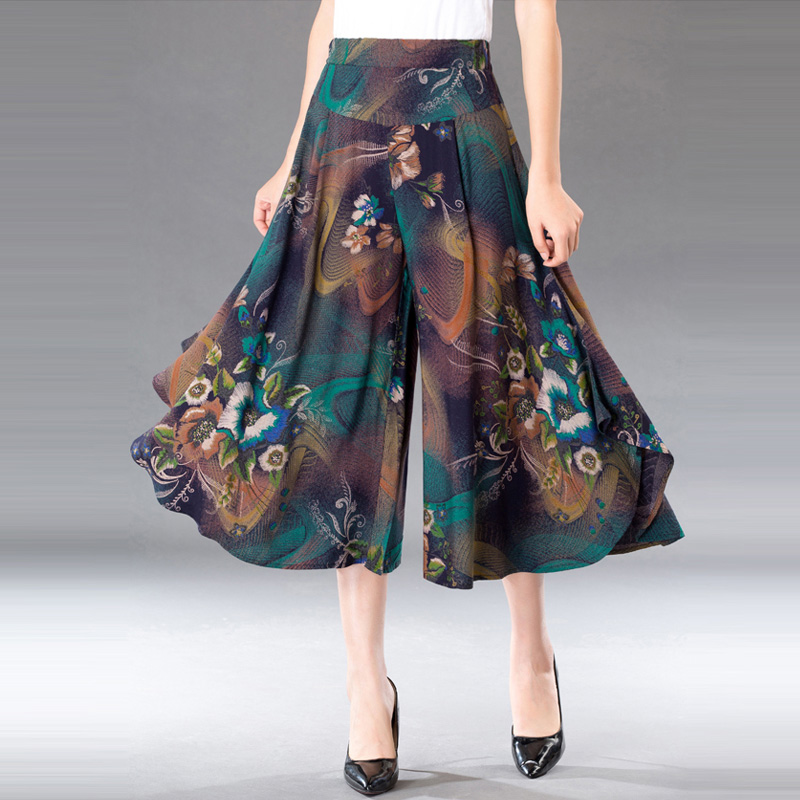Mid-aged Old Women Calf-Length Pants Female Lady Spring Summer Thin Print Loose Wide Leg Pants Sagging Mother's Skirt Trousers