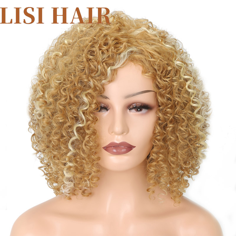 LISI HAIR Short Curly White Mix Blonde Color Wigs For Women Synthetic Hair High Temperature Fiber Average Size