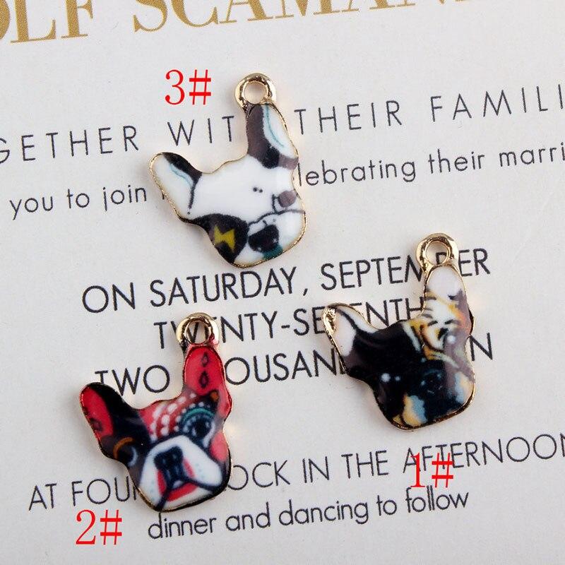 100 Stücke 16*18mm Emaille Französisch Bulldog Charme Wählen Sie Ihre Farbe Hund Charme-legierung Gold Farbe Retro Stier Hund Anhänger Für Diy Schmuck