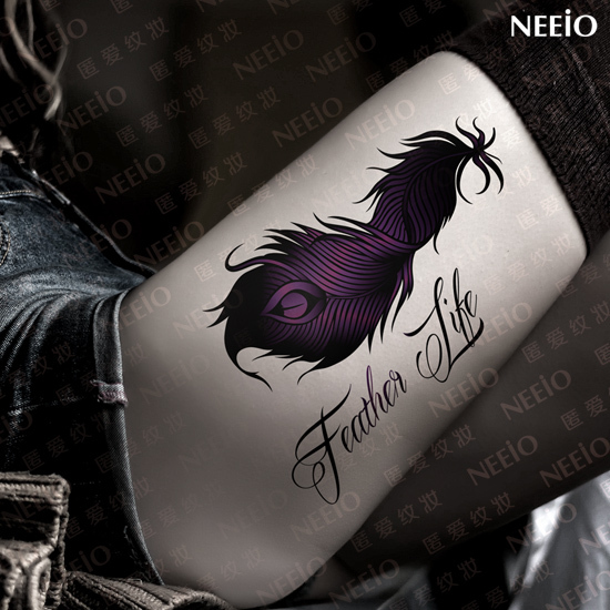 Women beautiful temporary tattoos flame shadow feather life designs large purple leg belly back waist body makeup tattoo sticker