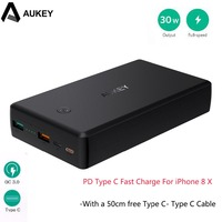 AUKEY Quick Charge 3 0 2 USB Power Bank 30000mAh Portable PD Fast Charger 30W Power