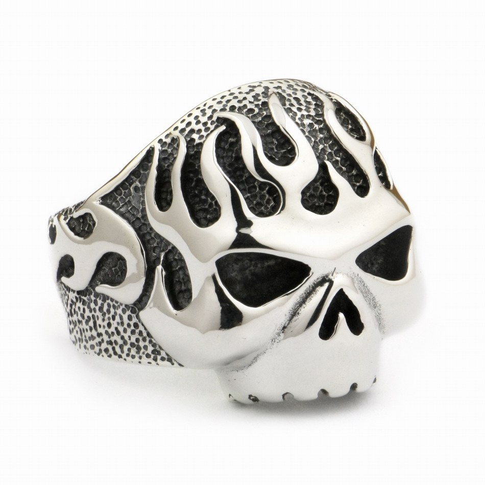 Huge Heavy 925 Sterling Silver Fire Skull Mens Biker Rocker Punk Ring 8D006 US Size 7 ~ 15Huge Heavy 925 Sterling Silver Fire Skull Mens Biker Rocker Punk Ring 8D006 US Size 7 ~ 15