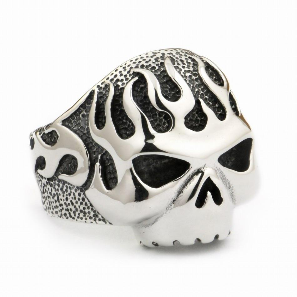 Huge Heavy 925 Sterling Silver Fire Skull Mens Biker Rocker Punk Ring 8D006 US Size 7 ~ 15Huge Heavy 925 Sterling Silver Fire Skull Mens Biker Rocker Punk Ring 8D006 US Size 7 ~ 15