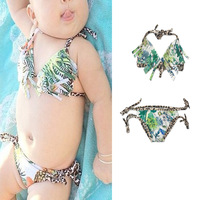 Girl Tassel Bikinis Green Tree Flower Print Leopard Bandage Swimsuit Baby Kids Bathing Suit for Beach Infants 2 Pcs Bikini Sets
