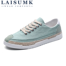 2018 LAISUMK New Fashion Breathable Canvas Mens Shoes Lace-Up Solid Flats Spring High Quality Casual Denim Canvas Shoes 2016 spring and autumn high quality super light denim canvas fashion flats casual fashion brand free shipping men shoes