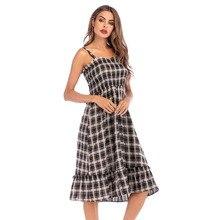 YYFS 2019 Fashion women cotton vintage plaid pleated high waist dresses ruffled strap Dress Summer Casual Women Beach Sundress
