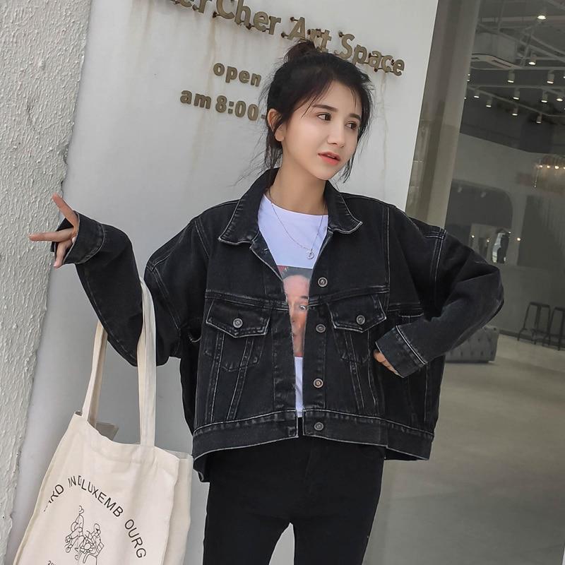 E-lzunion Black Solid Denim Women   Jacket   Coat 2018 Autumn Casual   Basic     Jacket   Coat Boyfriend Denim   Jacket