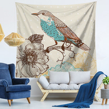 Tropical Leaf Flower Bird Tapestry Pink Rectangle Wall Hanging Beach Throw Towel Yoga Mat Bedspread Table Cloth