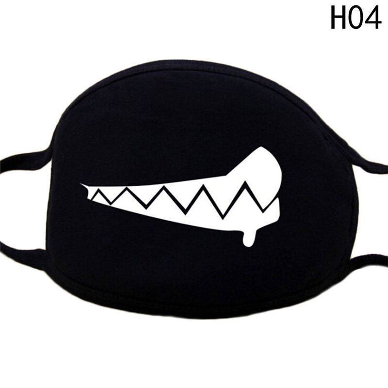 Black Unisex Face Mask Cute Mouth Mask Cotton Fabric Anti Dust Pollution Masks For Man Woman Keep Warm Mouth Face Mask Z4