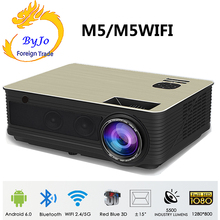 Poner Saund M5 LED projector Home theater system 3D Proyector Full HD HIFI speakers Selectable Android M5 Wifi PK led96 Projetor oupushi ks812b wifi ceiling speakers active horn wall speakers trumpetto home theater pa system family background music system