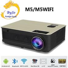 Poner Saund M5 LED projektör ev sinema sistemi 3D Proyector Full HD HIFI hoparlörler seçilebilir Android M5 Wifi PK led96 projektör