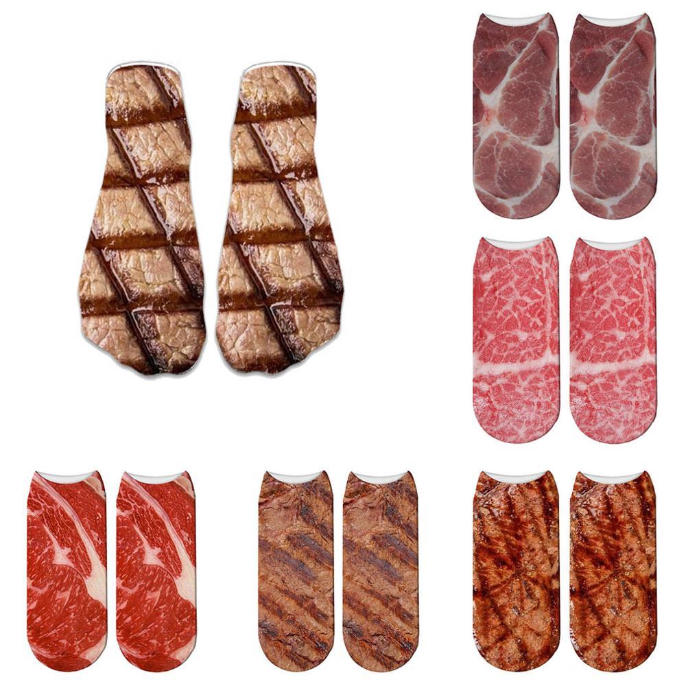 Funny 3D Printed Barbecue Socks Pork Belly Short Women Socks Terror Novelty Socks Fashion Cute Low Cut Ankle Socks Men 5ZWS62