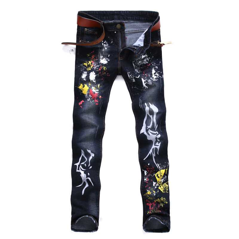 #1533 2017 Bikers Dark blue Fashion Mens printed jeans Slim Straight Denim jeans men Pantalon homme Elastic Skinny jogger jeans