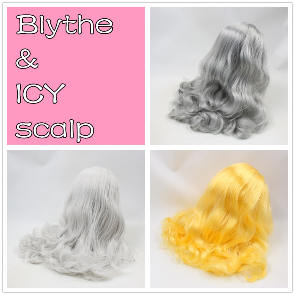 for blyth doll icy wig only rbl scalp and dome grey slilver yellow hair for blyth doll icy wig only rbl scalp and dome wavy mix pure color hair violet pink grey hair