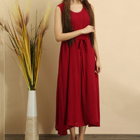 Tunicผ้าฝ้ายผ้าลินินชุดผู้หญิงฤดูร้อนชุดสายสบายๆผ้าพันแผลนุ่มแกว่งชุดสีแดงสีขาวหญิงขาขึ้น...