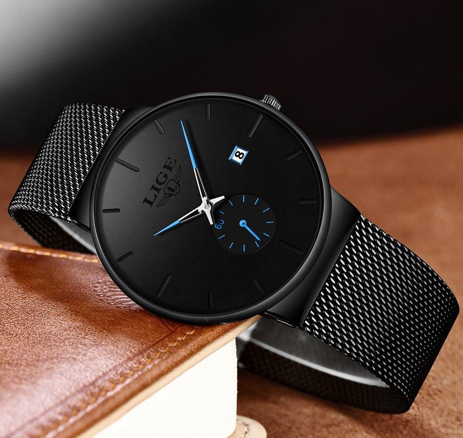 HTB1WgKkXkY2gK0jSZFgq6A5OFXam 2019 LIGE Mens Watches Top Brand Luxury Fashion Wrist Watch For Men Quartz Clock Clock Male Ultra-Thin Mesh Belt Waterproof+Box