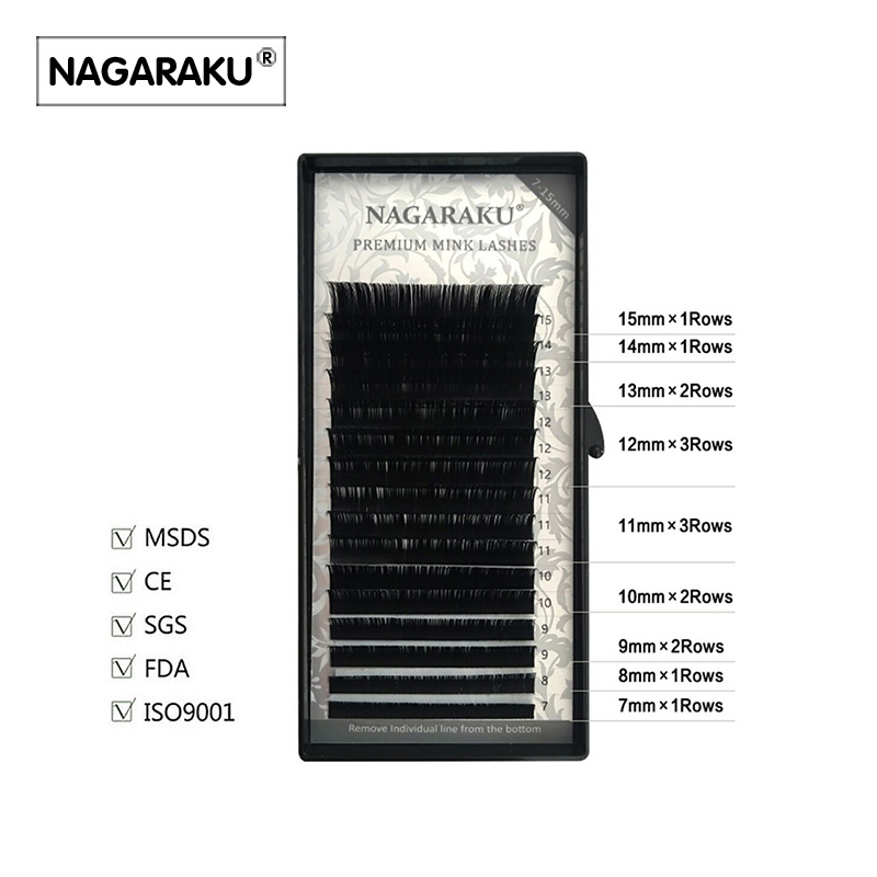 NAGARAKU 16rows/case,7~15mm mix in one tray, high quality synthetic mink,natural mink,individual eyelash extension