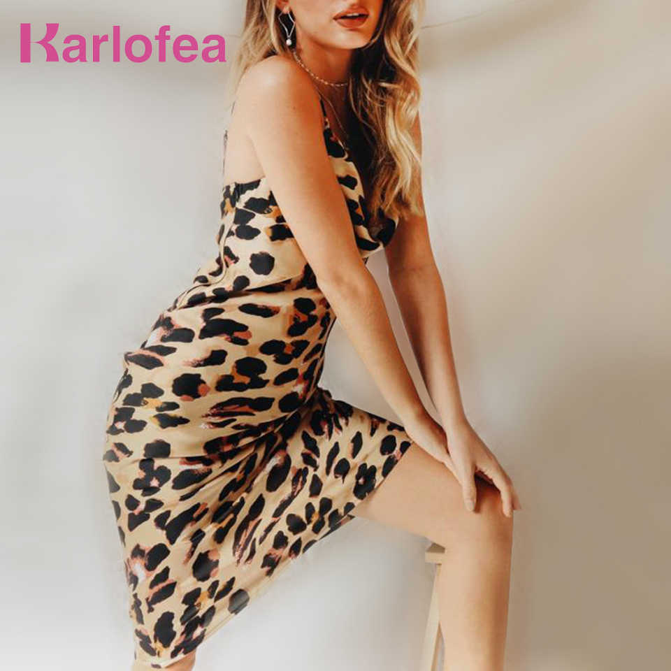 Karlofea Women Elegant Party Midi Dress Sexy Low Cowl Neck Leopard Print  Dress Fashion Club Night ea20ff8cf