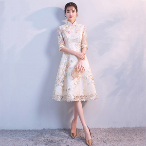 Image 2 - Vintage Chinese Style Wedding Dress Retro Toast Clothing Mini Gown Marriage Cheongsam Qipao Party Evening Dress Vestidos Clothes