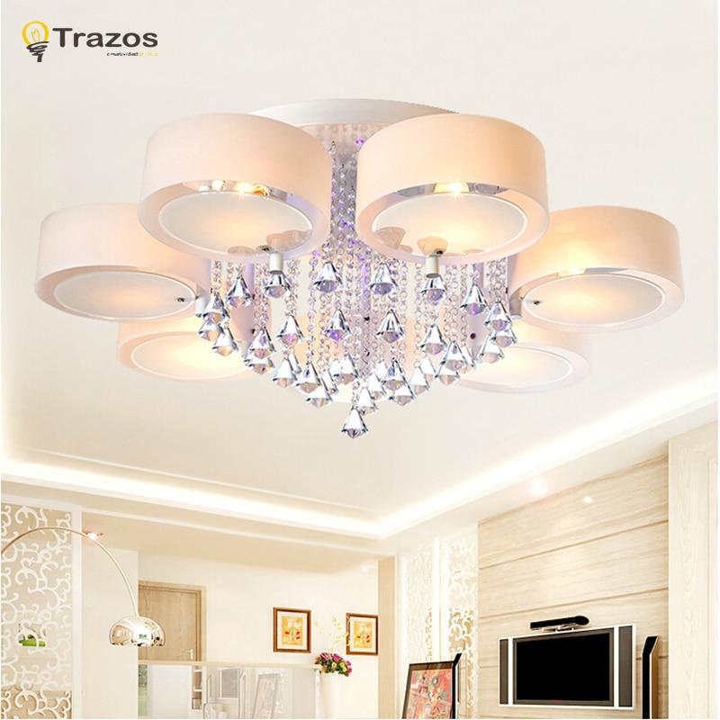 Kristal Led Tavan İşıqları müasir dəbli dizayn yemək otağı lampası pendente de teto de cristal ağ kölgə akril parıltı