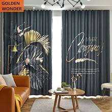 Fashion Dark Blue Curtains For Living Room Finished Product Beautiful Pattern Bedroom