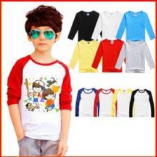 T-Shirts personnalisés à manches longues pour bébés garçons et filles, avec LOGO imprimé solide, 100% coton, pour l'automne