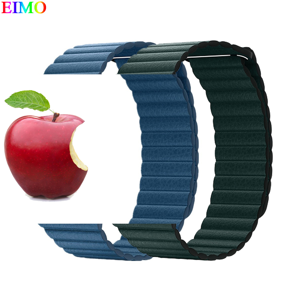Genuine Leather Loop watchband For Apple Watch 44mm/40mm iWatch series 4 3/2/1 42mm/38mm Magnetic Closure wrist band bracelet leather loop band for apple watch series 3 2 adjustable magnetic closure loop strap watchband for apple watch 42 38 40 44mm ba