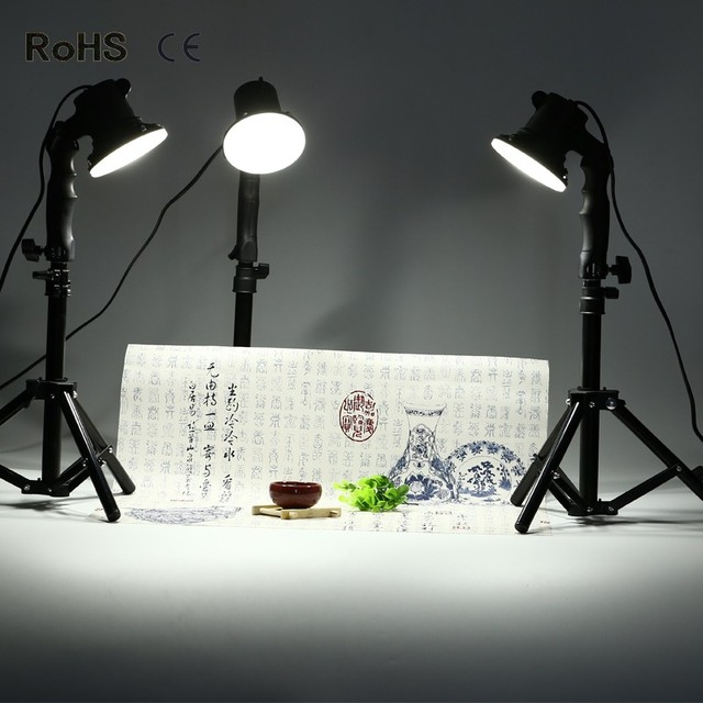 3 ピースledランプ写真スタジオの電球肖像ソフトボックス補助光ライト電球と 3*37 センチメートルライトスタンド