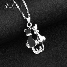 e5e5003dc SINLEERY Hot Fashion Couple Black Cat Necklace Pendants Silver Color Link  Chain Animal Designer Jewelry Gifts