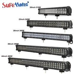 SufeMotec 4D 20 23 28 36 Inch 210 W 240 W 300 W 390 W 480 W LED barre lumineuse de travail pour les camions tout-terrain 4WD bateau SUV ATV bateau lampes de conduite