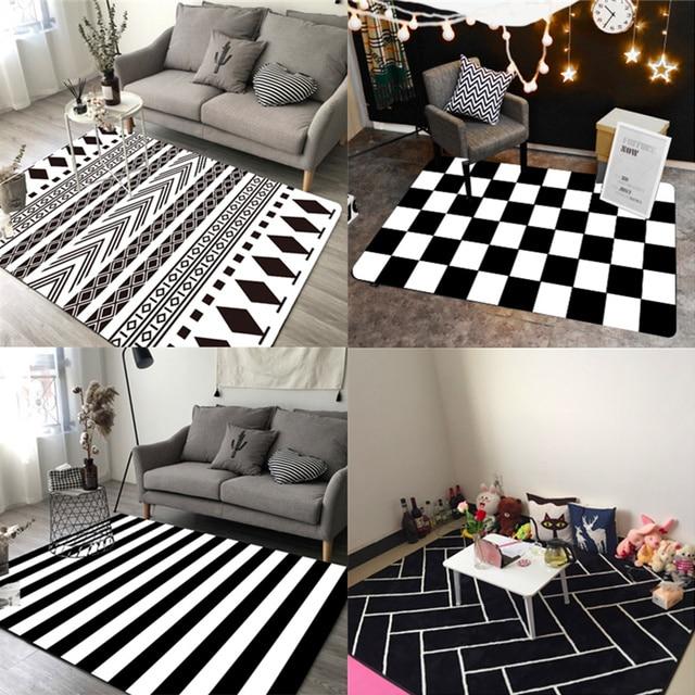 50x80cm 60x90cm 80x120cm Nordic Geometric Black White Stripes Rug Plush Carpet Mat Living Room