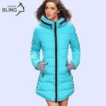 Ciepłe Zimowe Kurtki 2016 Kobiet Mody Dół Parki Bawełny Casual Długi Płaszcz Z Kapturem Pogrubienie Plus Size Parka Zipper Bawełna Szczupła